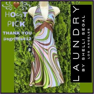 LAUNDRY BY SHELLI SEGAL SILK ABSTRACT DESIGN DRESS